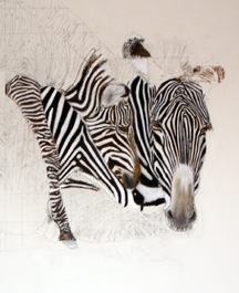 "Animal portrait painting ""Tender Moment"" with Zebra's"