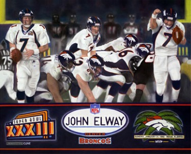 Historic Art Painting of Super Bowl XXXIII, Broncos Win!!!
