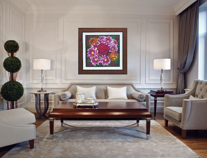 "Hand Embellished and framed Fine Art Re-Creation. ""Romancing the Rose"" measuring 40""X 42"""
